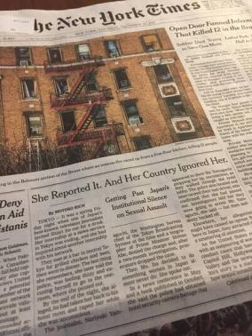 伊藤詩織事件がニューヨークタイムズの一面に掲載