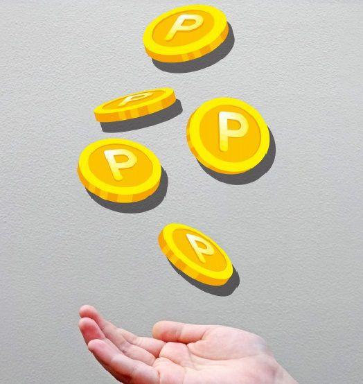 手のひらの上に降ってくるポイントコイン